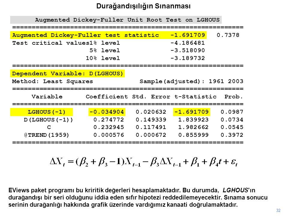 32 EViews paket programı bu kriritik değerleri hesaplamaktadır. Bu durumda, LGHOUS'ın durağandışı bir seri olduğunu iddia eden sıfır hipotezi reddedil