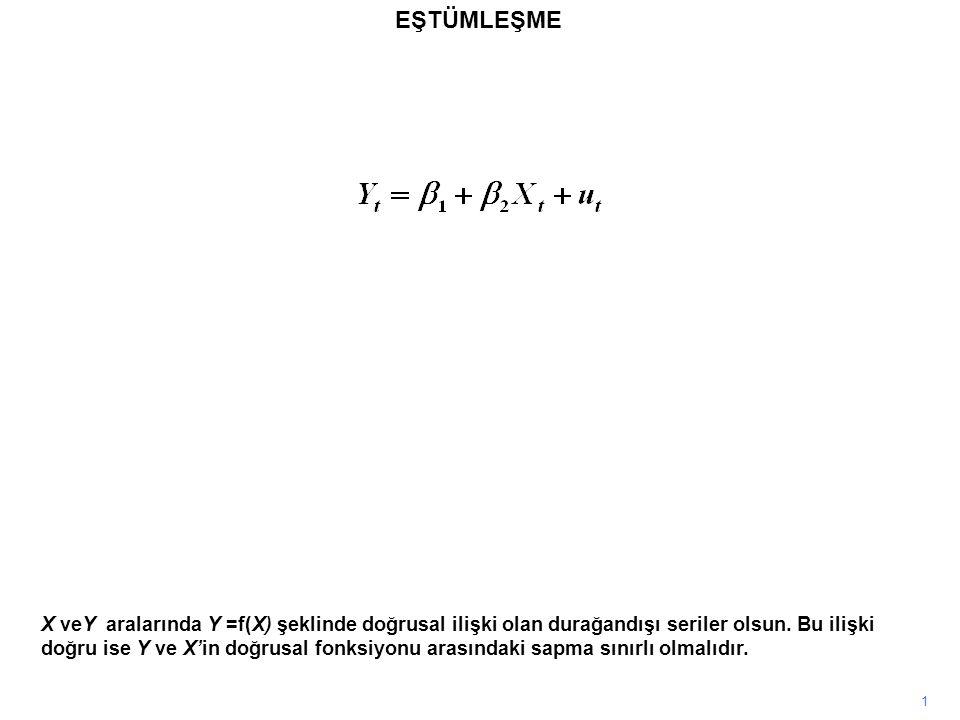 EŞTÜMLEŞME 1 X veY aralarında Y =f(X) şeklinde doğrusal ilişki olan durağandışı seriler olsun. Bu ilişki doğru ise Y ve X'in doğrusal fonksiyonu arası