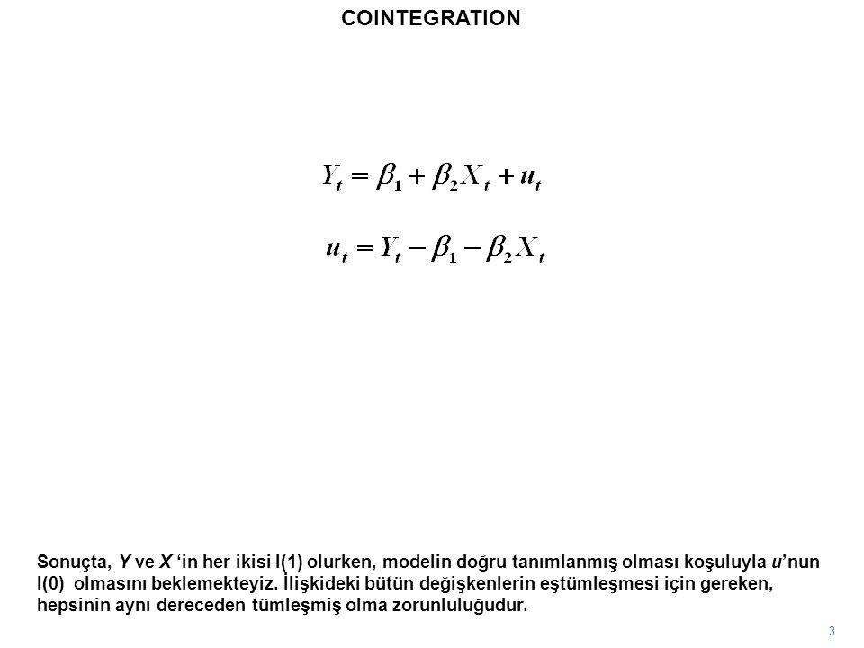3 Sonuçta, Y ve X 'in her ikisi I(1) olurken, modelin doğru tanımlanmış olması koşuluyla u'nun I(0) olmasını beklemekteyiz. İlişkideki bütün değişkenl