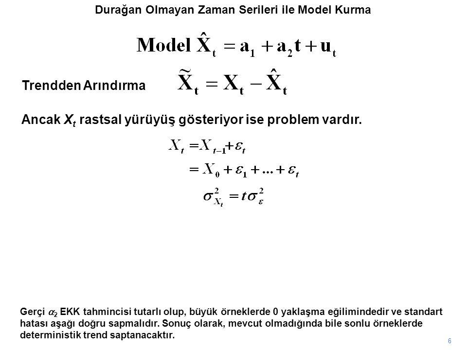 6 Gerçi  2 EKK tahmincisi tutarlı olup, büyük örneklerde 0 yaklaşma eğilimindedir ve standart hatası aşağı doğru sapmalıdır.