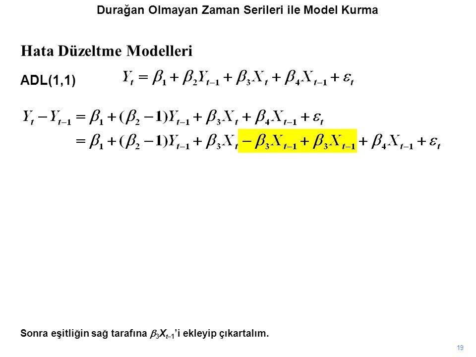19 Sonra eşitliğin sağ tarafına  3 X t–1 'i ekleyip çıkartalım. Hata Düzeltme Modelleri ADL(1,1) Durağan Olmayan Zaman Serileri ile Model Kurma