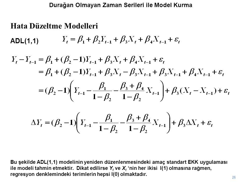 26 Bu şekilde ADL(1,1) modelinin yeniden düzenlenmesindeki amaç standart EKK uygulaması ile modeli tahmin etmektir. Dikat edilirse Y t ve X t 'nin her