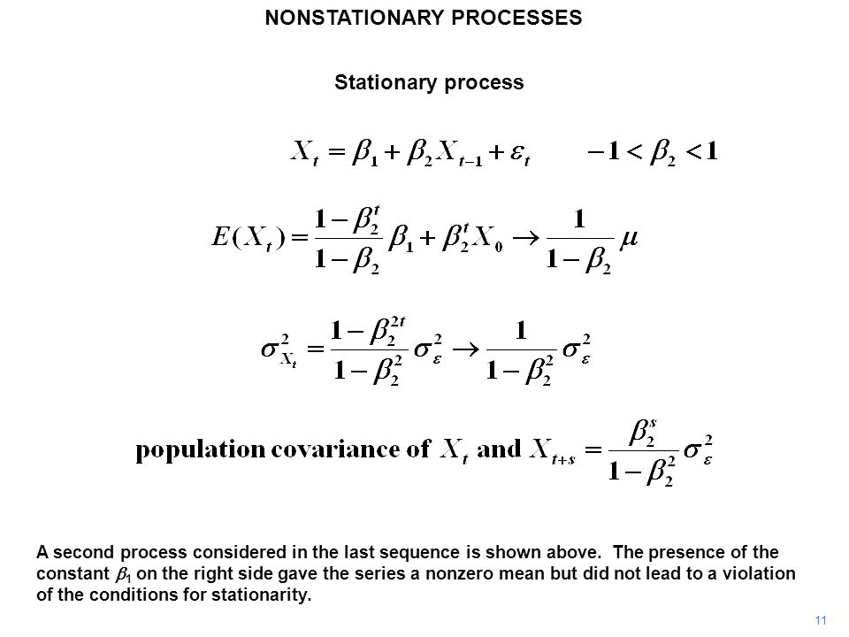 NONSTATIONARY PROCESSES 11 A second process considered in the last sequence is shown above. The presence of the constant  1 on the right side gave th