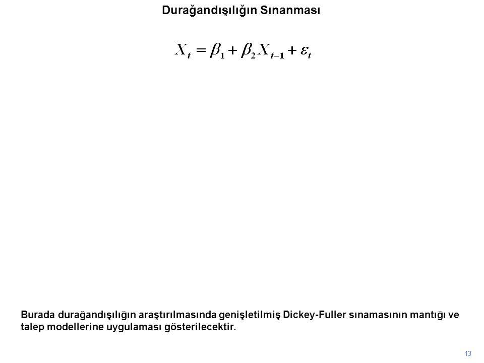 13 Burada durağandışılığın araştırılmasında genişletilmiş Dickey-Fuller sınamasının mantığı ve talep modellerine uygulaması gösterilecektir. Durağandı