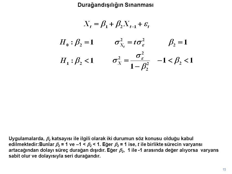 15 Uygulamalarda,  2 katsayısı ile ilgili olarak iki durumun söz konusu olduğu kabul edilmektedir:Bunlar  2 = 1 ve –1 <  2 < 1. Eğer  2 = 1 ise, t
