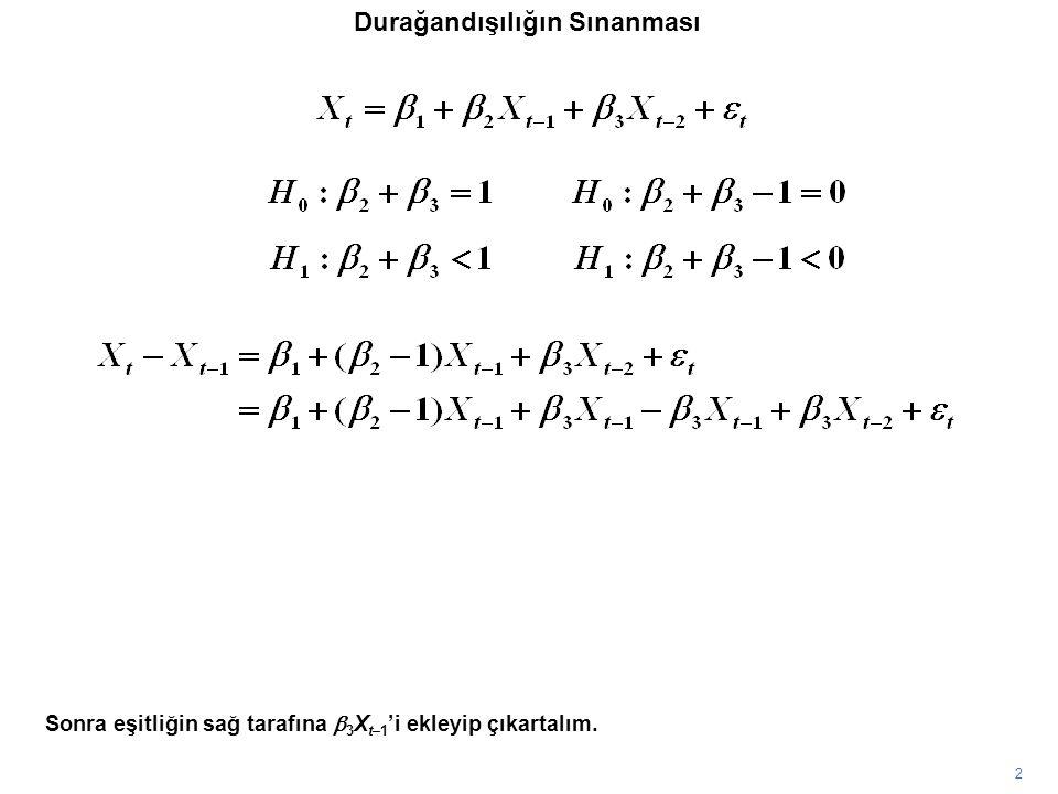 2 Sonra eşitliğin sağ tarafına  3 X t–1 'i ekleyip çıkartalım. Durağandışılığın Sınanması