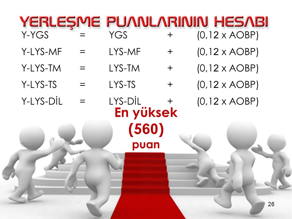 Y-YGS =YGS + (0,1 2 x AOBP) Y-LYS-MF =LYS-MF + (0,1 2 x AOBP) Y-LYS-TM =LYS-TM + (0,1 2 x AOBP) Y-LYS-TS =LYS-TS + (0,1 2 x AOBP) Y-LYS-DİL =LYS-DİL + (0,1 2 x AOBP) En yüksek (5 60 ) puan 26