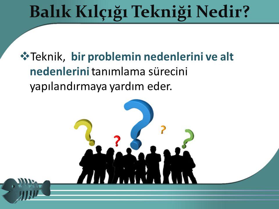  Teknik, bir problemin nedenlerini ve alt nedenlerini tanımlama sürecini yapılandırmaya yardım eder.