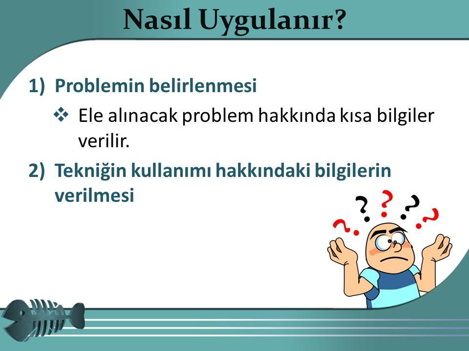1)Problemin belirlenmesi  Ele alınacak problem hakkında kısa bilgiler verilir. 2)Tekniğin kullanımı hakkındaki bilgilerin verilmesi Copyright 20107 N