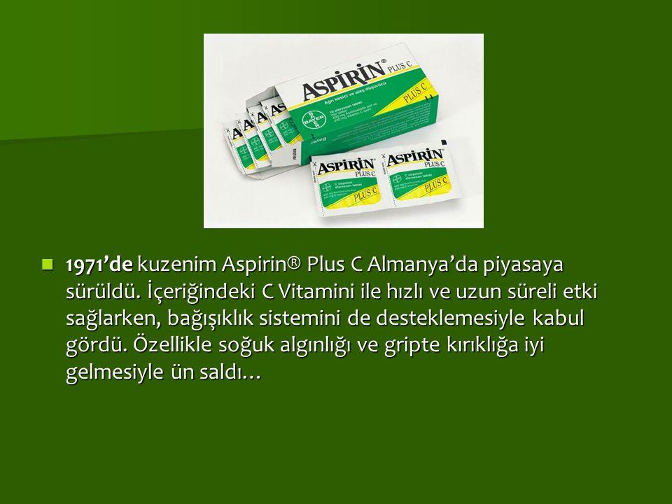 1971'de kuzenim Aspirin® Plus C Almanya'da piyasaya sürüldü. İçeriğindeki C Vitamini ile hızlı ve uzun süreli etki sağlarken, bağışıklık sistemini de