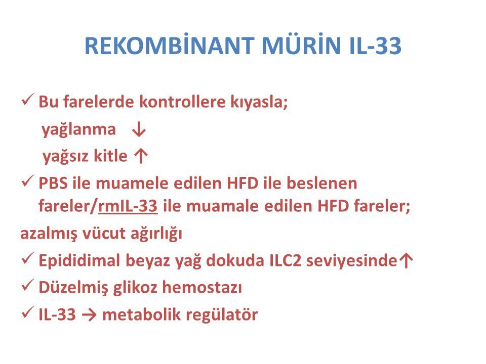 REKOMBİNANT MÜRİN IL-33 Bu farelerde kontrollere kıyasla; yağlanma ↓ yağsız kitle ↑ PBS ile muamele edilen HFD ile beslenen fareler/rmIL-33 ile muamal