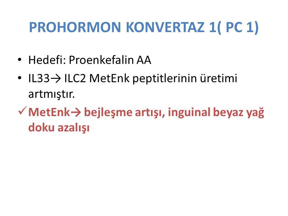 PROHORMON KONVERTAZ 1( PC 1) Hedefi: Proenkefalin AA IL33→ ILC2 MetEnk peptitlerinin üretimi artmıştır. MetEnk→ bejleşme artışı, inguinal beyaz yağ do
