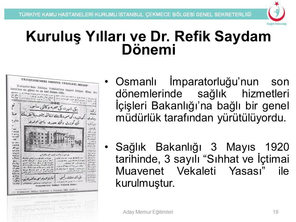 Kuruluş Yılları ve Dr. Refik Saydam Dönemi Osmanlı İmparatorluğu'nun son dönemlerinde sağlık hizmetleri İçişleri Bakanlığı'na bağlı bir genel müdürlük