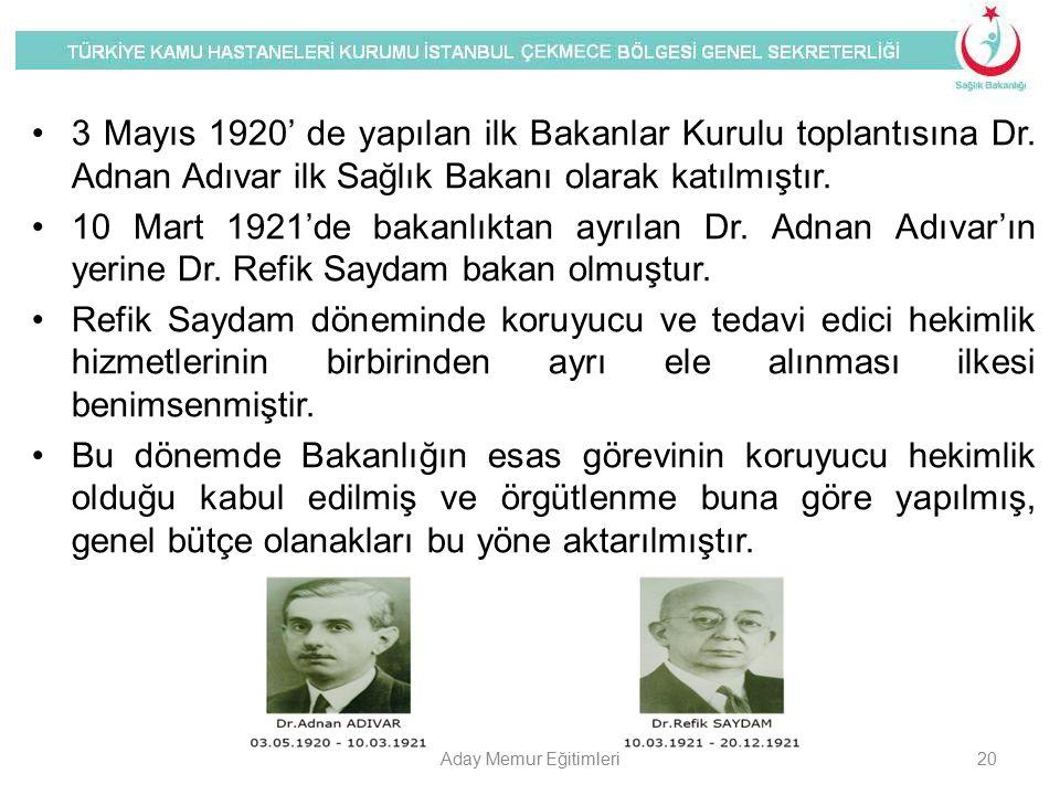 3 Mayıs 1920' de yapılan ilk Bakanlar Kurulu toplantısına Dr. Adnan Adıvar ilk Sağlık Bakanı olarak katılmıştır. 10 Mart 1921'de bakanlıktan ayrılan D