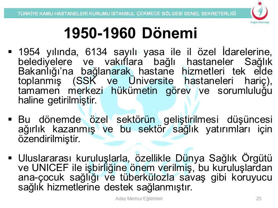  1954 yılında, 6134 sayılı yasa ile il özel İdarelerine, belediyelere ve vakıflara bağlı hastaneler Sağlık Bakanlığı'na bağlanarak hastane hizmetleri