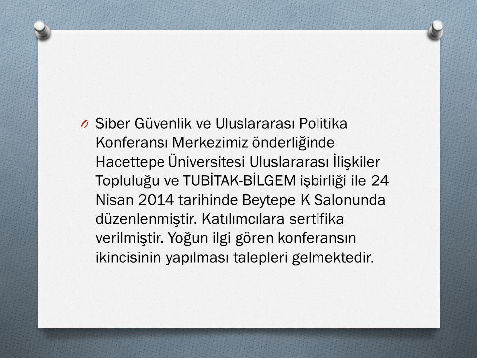 O Siber Güvenlik ve Uluslararası Politika Konferansı Merkezimiz önderliğinde Hacettepe Üniversitesi Uluslararası İlişkiler Topluluğu ve TUBİTAK-BİLGEM işbirliği ile 24 Nisan 2014 tarihinde Beytepe K Salonunda düzenlenmiştir.