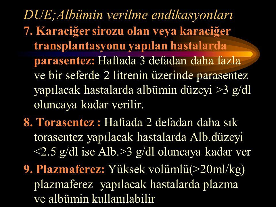 DUE;Albümin verilme endikasyonları 7. Karaciğer sirozu olan veya karaciğer transplantasyonu yapılan hastalarda parasentez: Haftada 3 defadan daha fazl