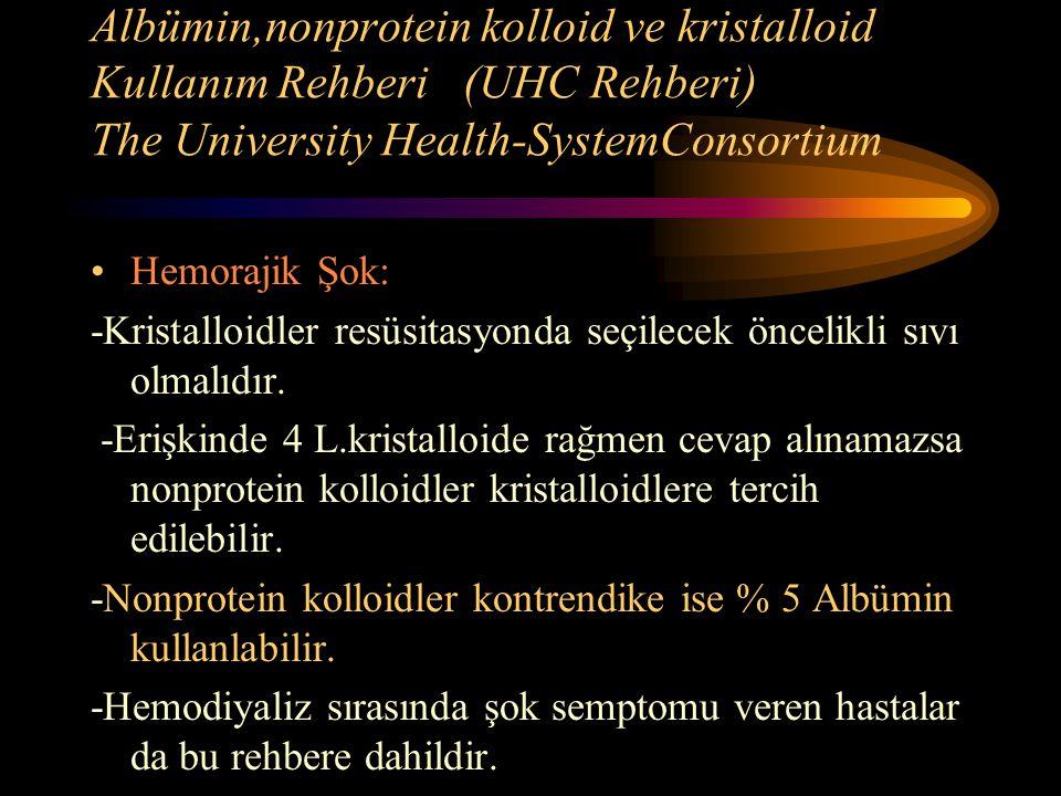 Albümin,nonprotein kolloid ve kristalloid Kullanım Rehberi (UHC Rehberi) The University Health-SystemConsortium Hemorajik Şok: -Kristalloidler resüsit