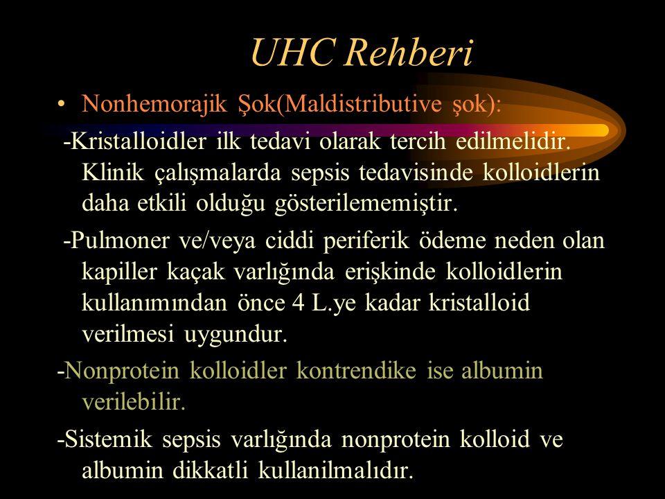 UHC Rehberi Nonhemorajik Şok(Maldistributive şok): -Kristalloidler ilk tedavi olarak tercih edilmelidir. Klinik çalışmalarda sepsis tedavisinde kolloi