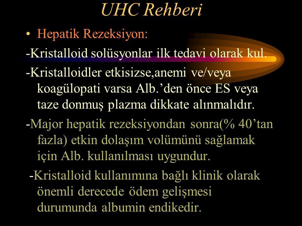 UHC Rehberi Hepatik Rezeksiyon: -Kristalloid solüsyonlar ilk tedavi olarak kul. -Kristalloidler etkisizse,anemi ve/veya koagülopati varsa Alb.'den önc