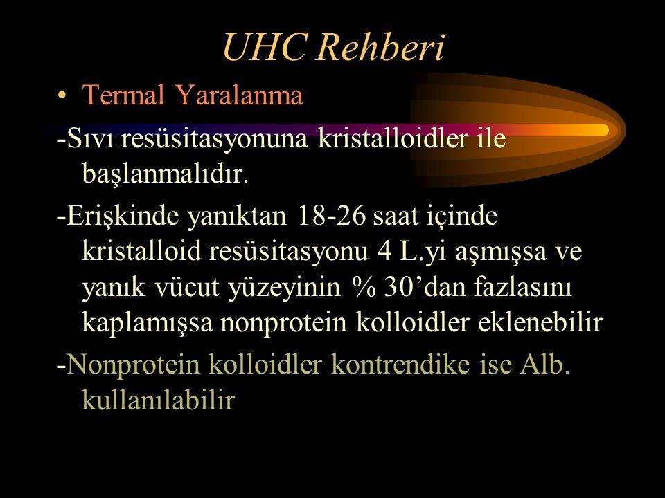 UHC Rehberi Termal Yaralanma -Sıvı resüsitasyonuna kristalloidler ile başlanmalıdır. -Erişkinde yanıktan 18-26 saat içinde kristalloid resüsitasyonu 4