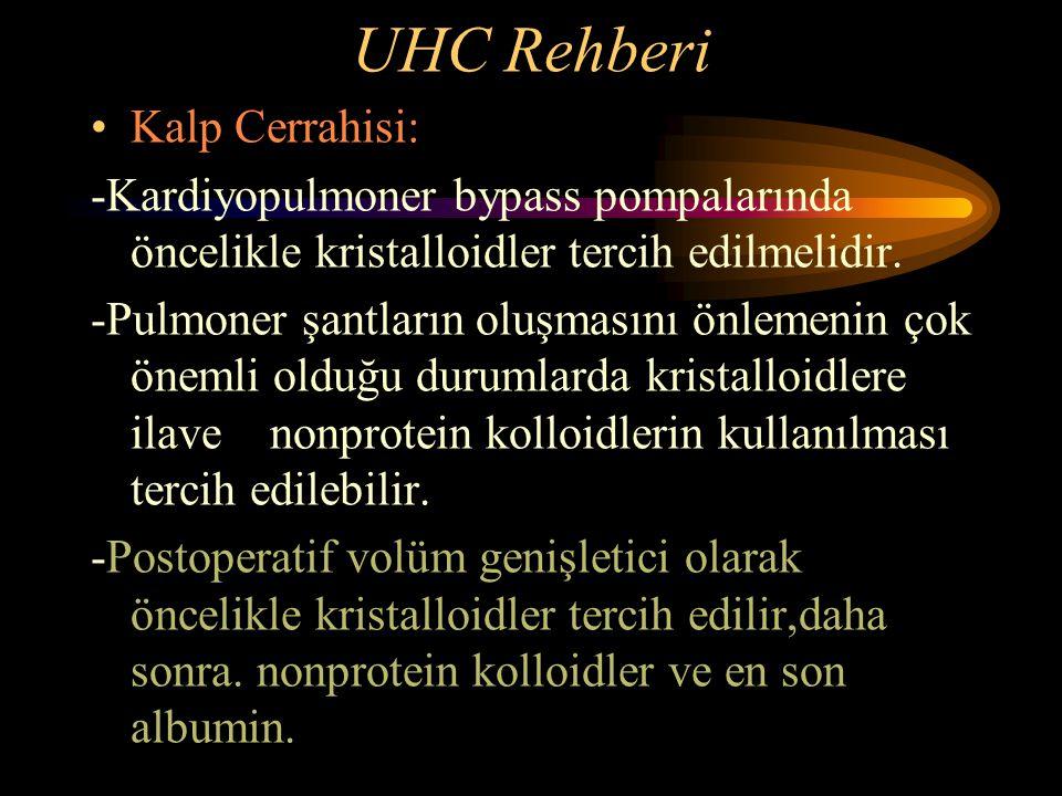 UHC Rehberi Kalp Cerrahisi: -Kardiyopulmoner bypass pompalarında öncelikle kristalloidler tercih edilmelidir. -Pulmoner şantların oluşmasını önlemenin