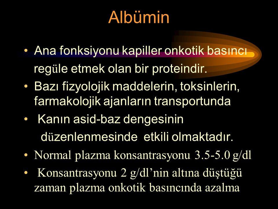 Albümin Ana fonksiyonu kapiller onkotik basıncı reg ü le etmek olan bir proteindir. Bazı fizyolojik maddelerin, toksinlerin, farmakolojik ajanların tr