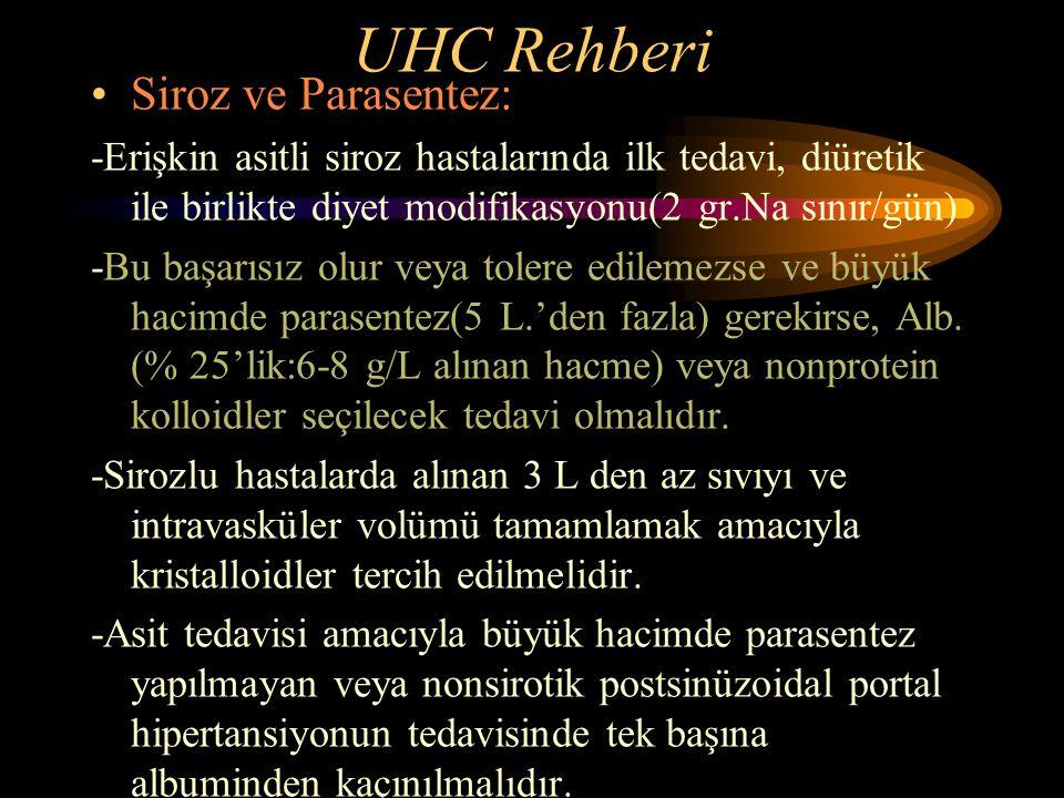 UHC Rehberi Siroz ve Parasentez: -Erişkin asitli siroz hastalarında ilk tedavi, diüretik ile birlikte diyet modifikasyonu(2 gr.Na sınır/gün) -Bu başar