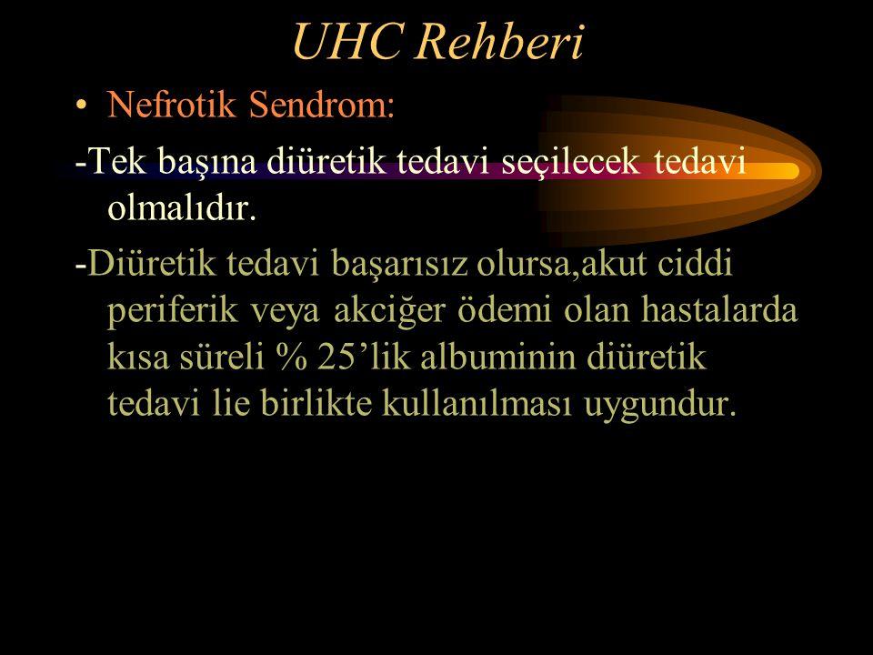UHC Rehberi Nefrotik Sendrom: -Tek başına diüretik tedavi seçilecek tedavi olmalıdır. -Diüretik tedavi başarısız olursa,akut ciddi periferik veya akci