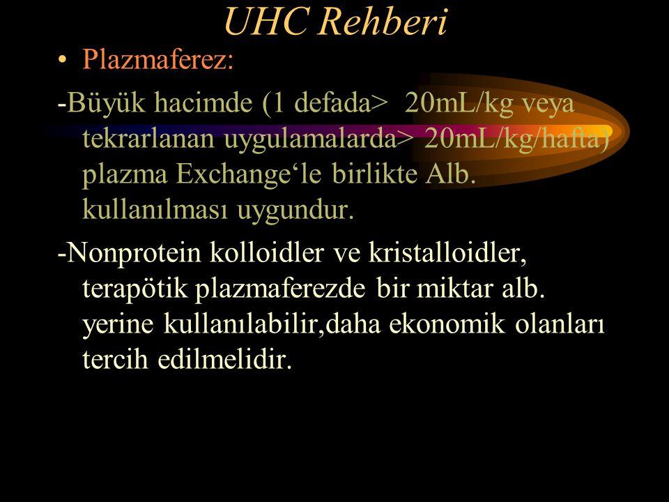 UHC Rehberi Plazmaferez: -Büyük hacimde (1 defada> 20mL/kg veya tekrarlanan uygulamalarda> 20mL/kg/hafta) plazma Exchange'le birlikte Alb. kullanılmas