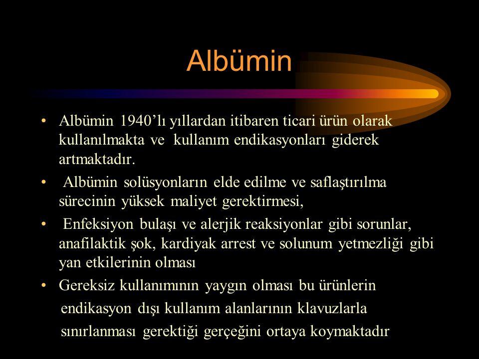 Albümin Albümin 1940'lı yıllardan itibaren ticari ürün olarak kullanılmakta ve kullanım endikasyonları giderek artmaktadır. Albümin solüsyonların elde