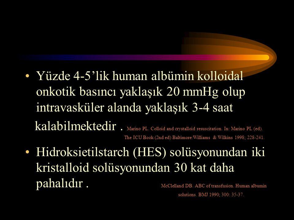 Yüzde 4-5'lik human albümin kolloidal onkotik basıncı yaklaşık 20 mmHg olup intravasküler alanda yaklaşık 3-4 saat kalabilmektedir. Marino PL. Colloid