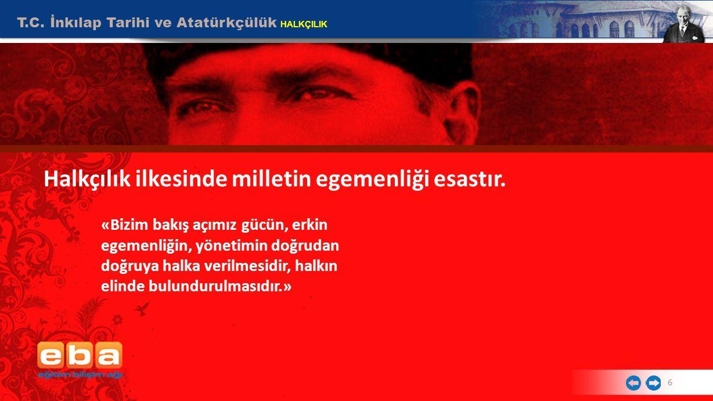 T.C.İnkılap Tarihi ve Atatürkçülük HALKÇILIK 6 Halkçılık ilkesinde milletin egemenliği esastır.