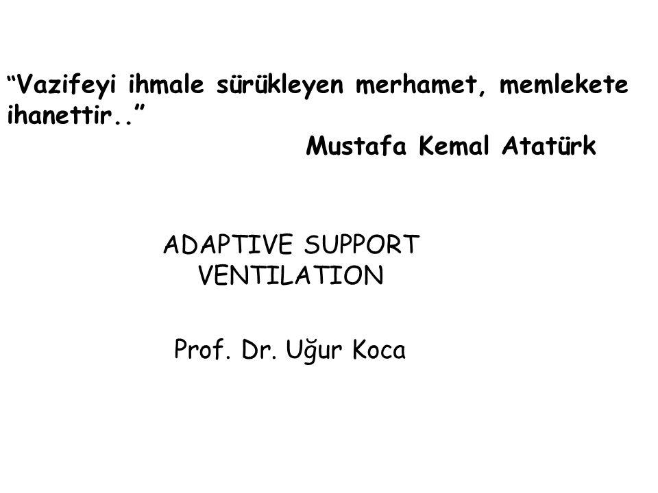 Kapalı-döngülü ventilasyon modudur Soluktan soluğa kontrol uygulanır Ventilatör tarafından sağlanan ventilatuvar desteğin miktarını belirleyen faktörler: - hastanın ölçülen pulmoner mekanik özellikleri - hastanın soluk eforu ASV (adaptive support ventilation)