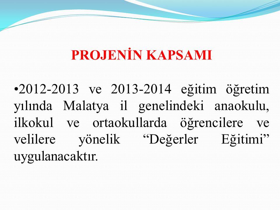 PROJENİN KAPSAMI 2012-2013 ve 2013-2014 eğitim öğretim yılında Malatya il genelindeki anaokulu, ilkokul ve ortaokullarda öğrencilere ve velilere yönel