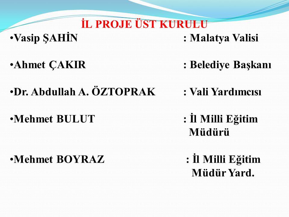 İL PROJE ÜST KURULU Vasip ŞAHİN: Malatya Valisi Ahmet ÇAKIR: Belediye Başkanı Dr. Abdullah A. ÖZTOPRAK: Vali Yardımcısı Mehmet BULUT: İl Milli Eğitim
