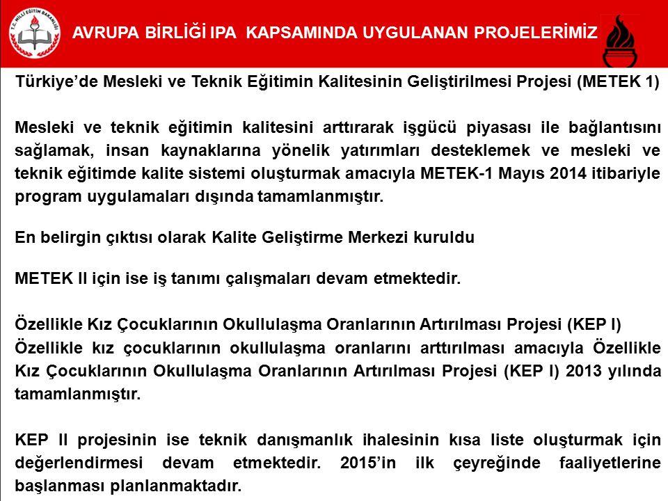 Türkiye'de Mesleki ve Teknik Eğitimin Kalitesinin Geliştirilmesi Projesi (METEK 1) Mesleki ve teknik eğitimin kalitesini arttırarak işgücü piyasası il