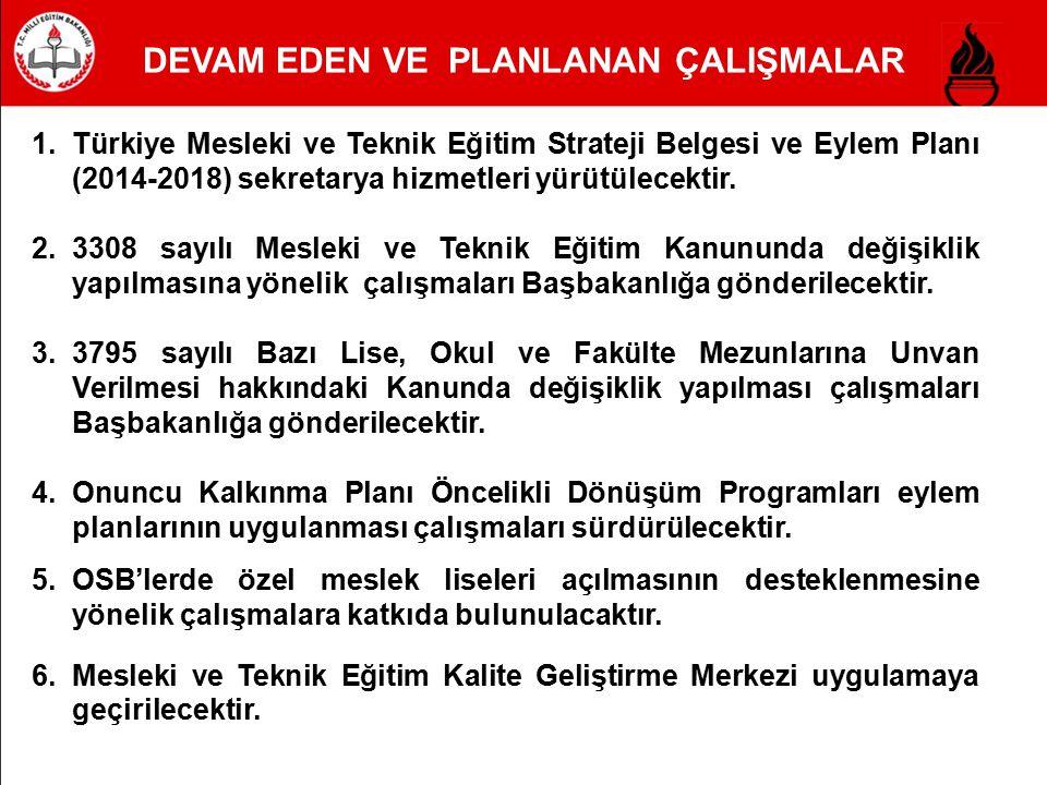 1.Türkiye Mesleki ve Teknik Eğitim Strateji Belgesi ve Eylem Planı (2014-2018) sekretarya hizmetleri yürütülecektir. 2.3308 sayılı Mesleki ve Teknik E