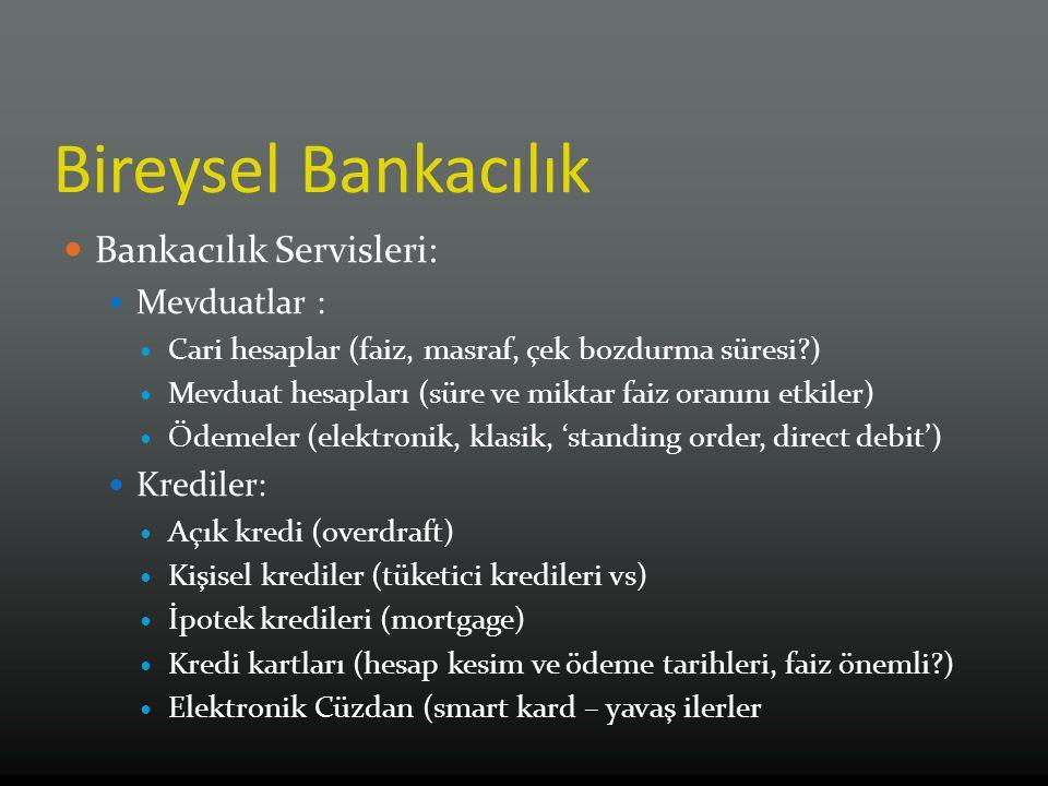 Bireysel Bankacılık Bankacılık Servisleri: Mevduatlar : Cari hesaplar (faiz, masraf, çek bozdurma süresi?) Mevduat hesapları (süre ve miktar faiz oran