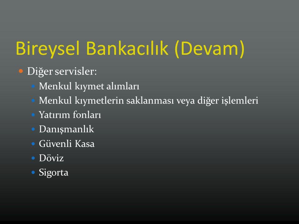 Bireysel Bankacılık (Devam) Diğer servisler: Menkul kıymet alımları Menkul kıymetlerin saklanması veya diğer işlemleri Yatırım fonları Danışmanlık Güv