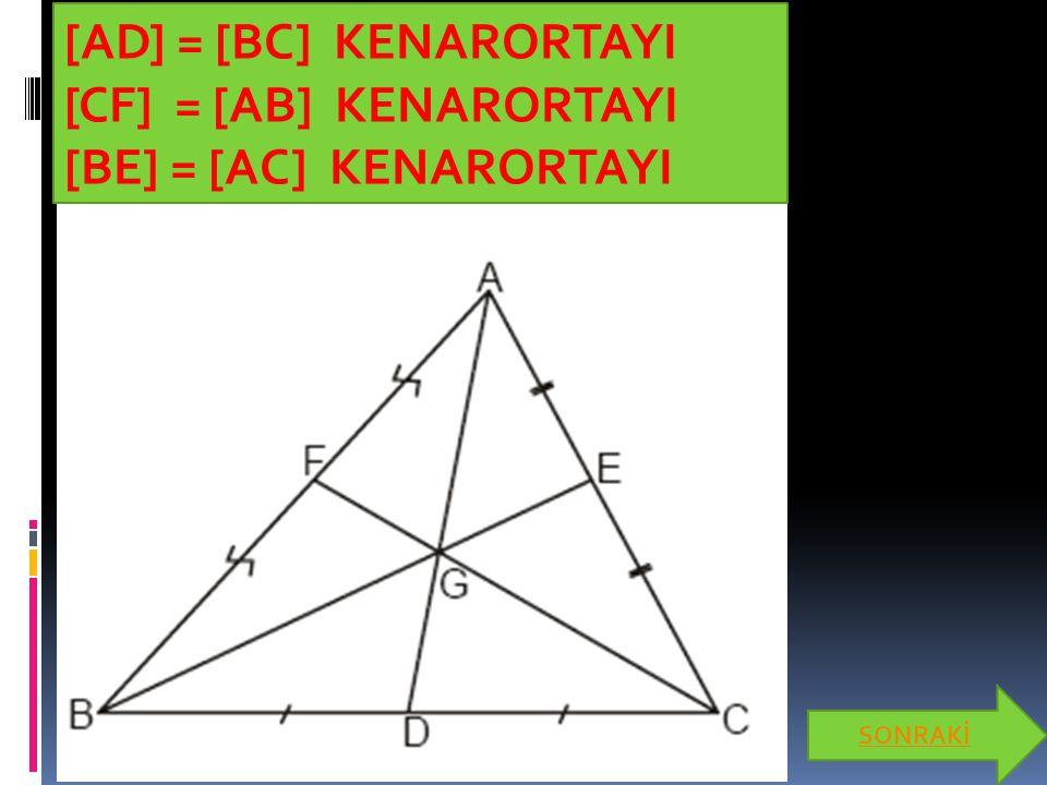 Açıortay  Bir üçgenin herhangi bir iç açısını iki eş parçaya ayırarak köşeyi karşı kenara birleştiren doğru parçasına üçgenin iç açıortayı denir.