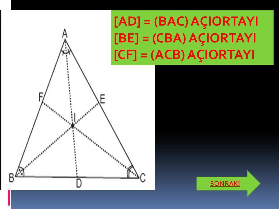 Dik Üçgen  Bir açısının ölçüsü 90° olan üçgene dik üçgen denir. SONRAKİ