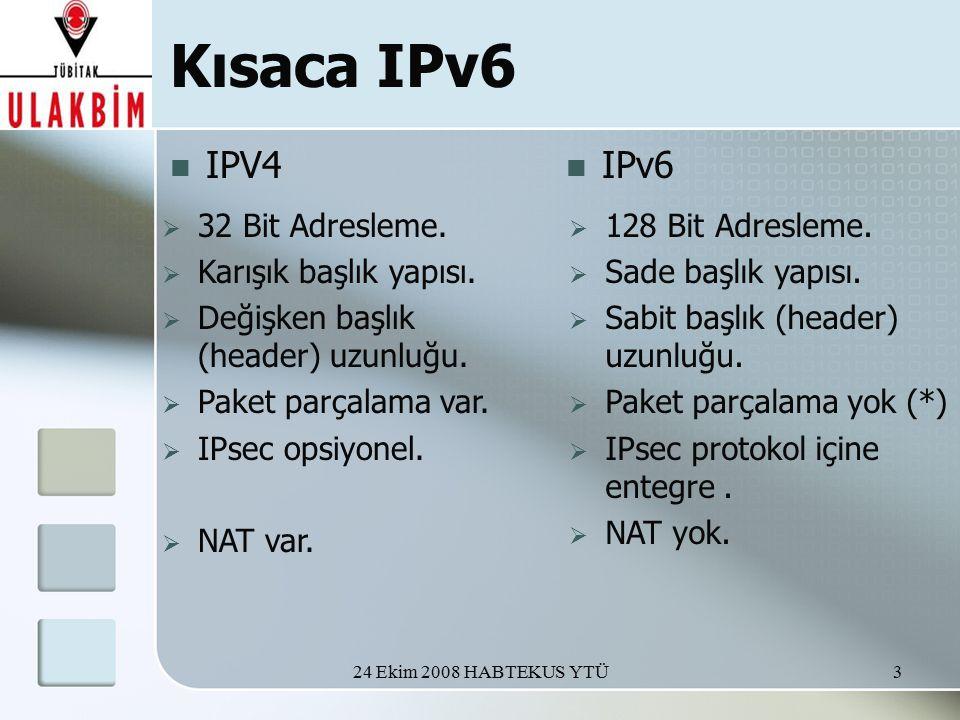 24 Ekim 2008 HABTEKUS YTÜ3 Kısaca IPv6 IPV4 IPv6  32 Bit Adresleme.