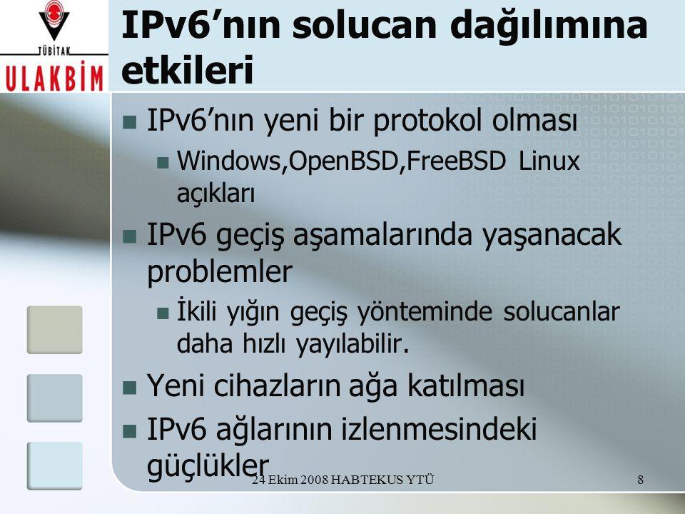 24 Ekim 2008 HABTEKUS YTÜ8 IPv6'nın solucan dağılımına etkileri IPv6'nın yeni bir protokol olması Windows,OpenBSD,FreeBSD Linux açıkları IPv6 geçiş aşamalarında yaşanacak problemler İkili yığın geçiş yönteminde solucanlar daha hızlı yayılabilir.
