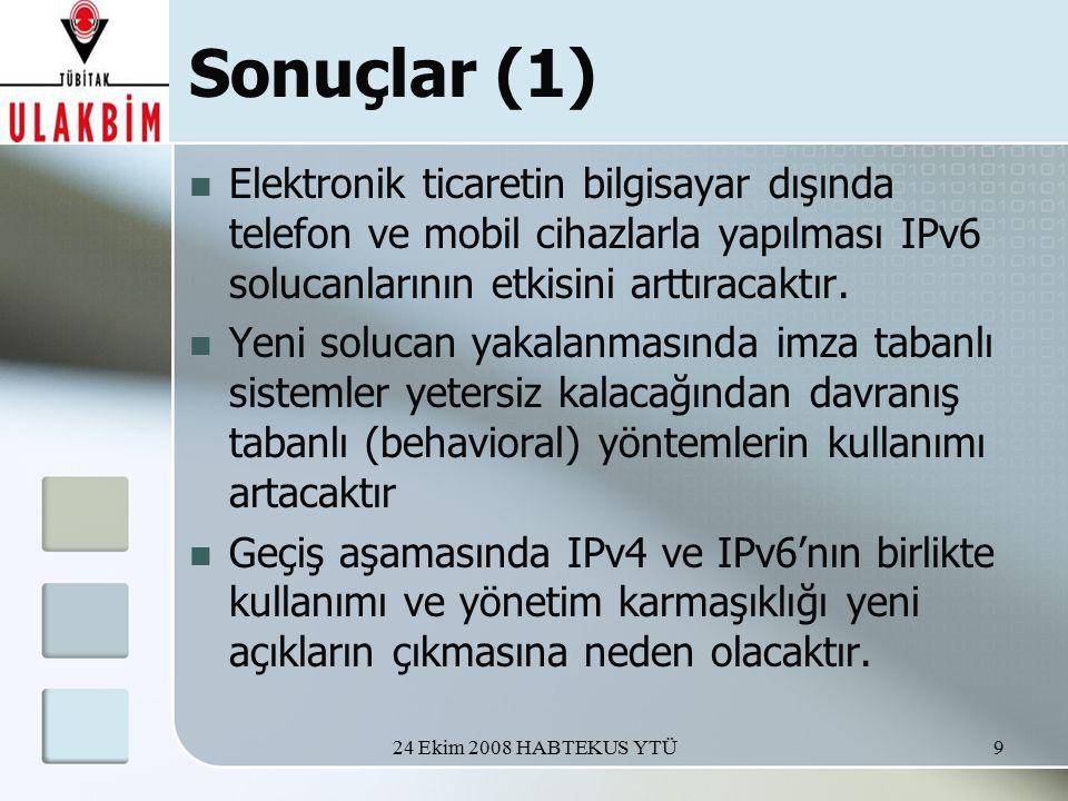 24 Ekim 2008 HABTEKUS YTÜ9 Sonuçlar (1) Elektronik ticaretin bilgisayar dışında telefon ve mobil cihazlarla yapılması IPv6 solucanlarının etkisini arttıracaktır.