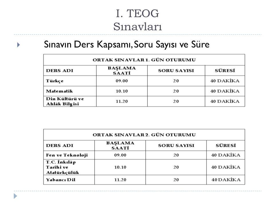 I.TEOG Sınavları  Kısa Kısa …:  *Sınav ücreti yok  *Başvuru Yok..