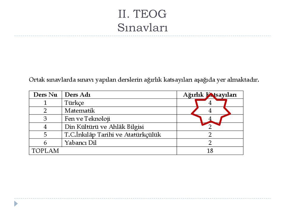 II. TEOG Sınavları