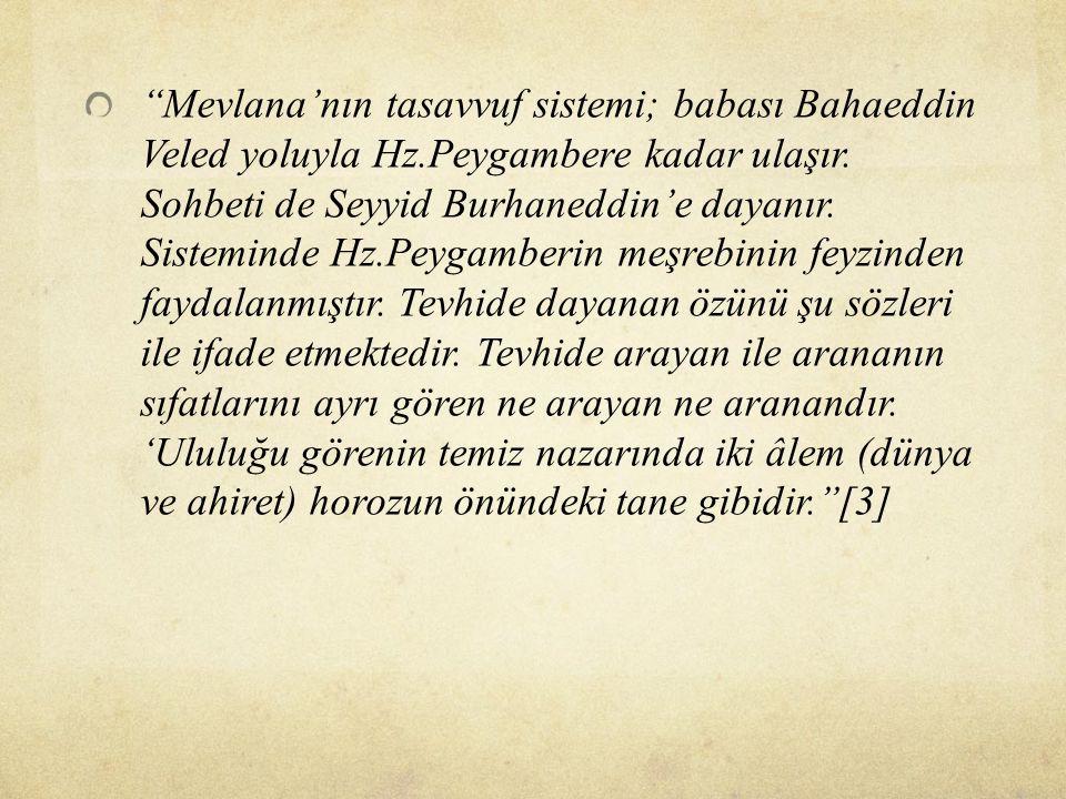 ''Mevlana'nın tasavvuf sistemi; babası Bahaeddin Veled yoluyla Hz.Peygambere kadar ulaşır. Sohbeti de Seyyid Burhaneddin'e dayanır. Sisteminde Hz.Peyg