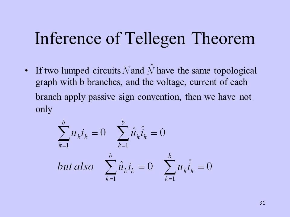 31 Inference of Tellegen Theorem If two lumped circuits and have the same topological graph with b branches, and the voltage, current of each branch a
