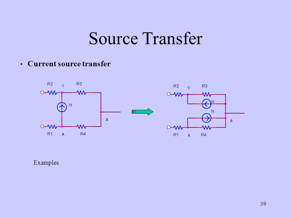 39 Source Transfer Current source transfer Examples